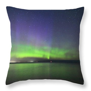 Northern Light With Perseid Meteor Throw Pillow by Charline Xia