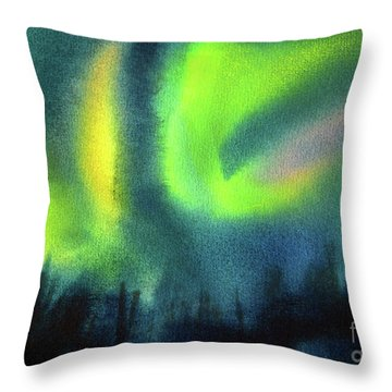 Throw Pillow featuring the painting Northern Lights 3 by Kathy Braud