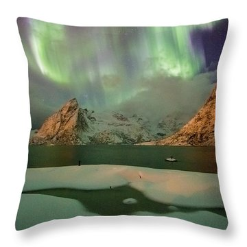 Northern Lights Above Olstinden Throw Pillow