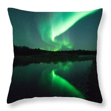 Northern Lights Alaska Throw Pillow