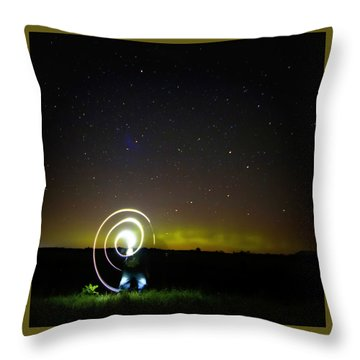 Northern Lights And Night Writing Throw Pillow