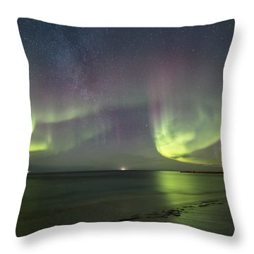 Northern Lights At The Beach II Throw Pillow