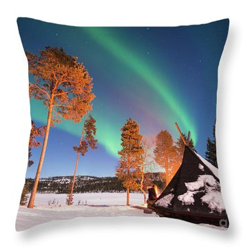 Throw Pillow featuring the photograph Northern Lights By The Lake by Delphimages Photo Creations