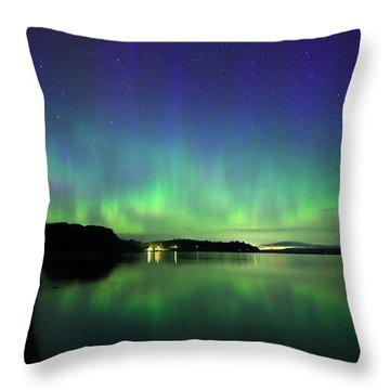 Northern Lights Dance Throw Pillow