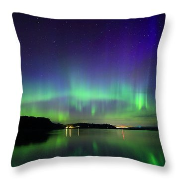 Northern Lights In Maine Throw Pillow