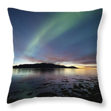 Northern Lights Meet Sunset Throw Pillow