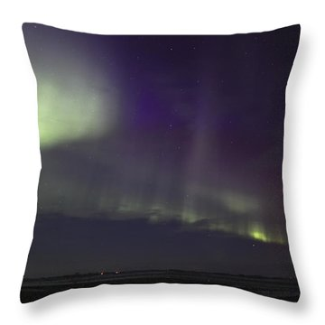 Northern Lights Near Yorkton Throw Pillow by Ryan Crouse