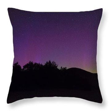 Northern Lights Panorama At The Adirondack Mountains Throw Pillow