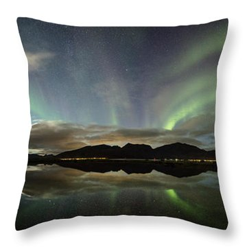 Northern Lights Panorama Throw Pillow