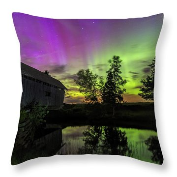 Northern Lights Reflection Throw Pillow