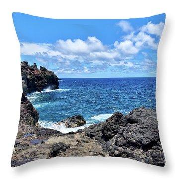Northern Maui Rocky Coastline Throw Pillow