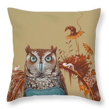 Northern Screech Owl Throw Pillow by Jasper Oostland