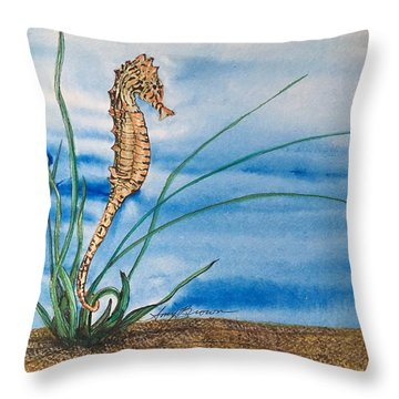 Northern Seahorse Throw Pillow