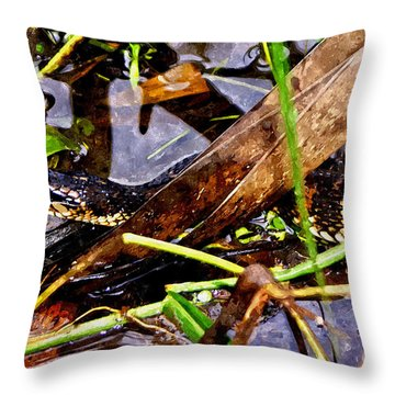 Throw Pillow featuring the mixed media Northern Water Snake by Olga Hamilton