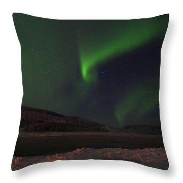 Throw Pillow featuring the photograph Northern Yukon Lights 1 by Phyllis Spoor