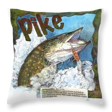 Throw Pillow featuring the painting Northerrn Pike by John Dyess