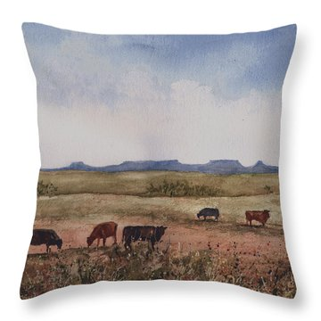 Throw Pillow featuring the painting Northwest Oklahoma Cattle Country by Sam Sidders