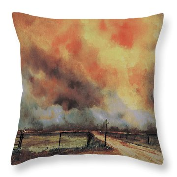 Throw Pillow featuring the painting Northwest Oklahoma Wildfire by Sam Sidders