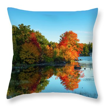 Northwood Lake Autumn Throw Pillow