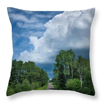 Northwoods Road Trip Throw Pillow by Steve Gadomski
