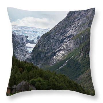 Norway Glacier Jostedalsbreen Throw Pillow