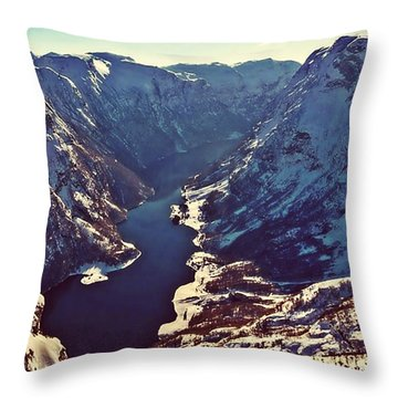 Norway Mountains Throw Pillow