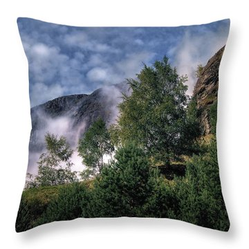 Norway Mountainside Throw Pillow by Jim Hill