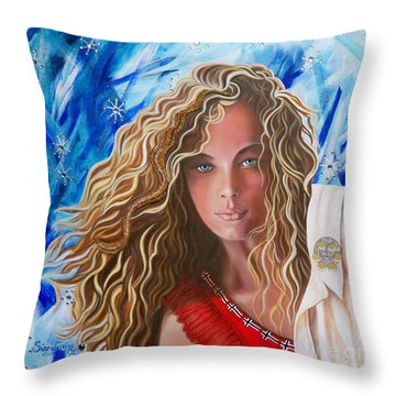 Navigating  Norwegian Girl             From The Attitude Girls  Throw Pillow
