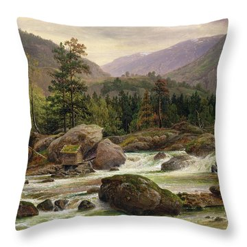Norwegian Waterfall Throw Pillow by Thomas Fearnley