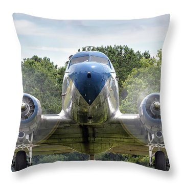 Nose To Nose With A Dc-3 Throw Pillow