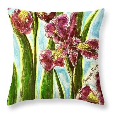 Nostalgic Irises Throw Pillow