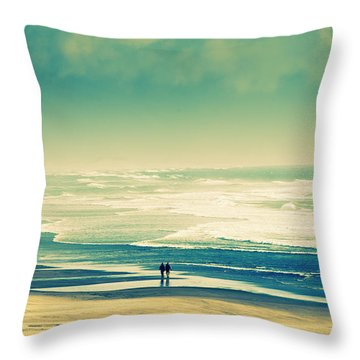 Nostalgic Oceanside Oregon Coast Throw Pillow by Amyn Nasser