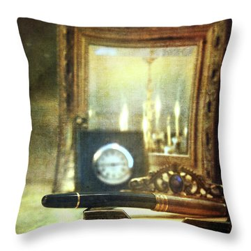 Nostalgic Still Life Of Writing Pen With Clock In Background Throw Pillow by Sandra Cunningham