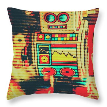 Nostalgic Tin Sign Robot Throw Pillow