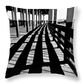 Nostalgic Walk On The Pier Throw Pillow