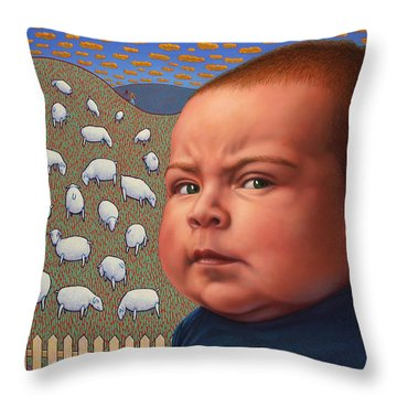Not Crying Wolf Throw Pillow by James W Johnson
