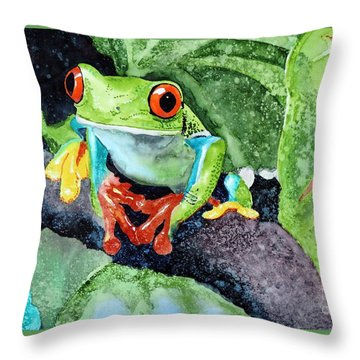 Not Kermit Throw Pillow by Tom Riggs