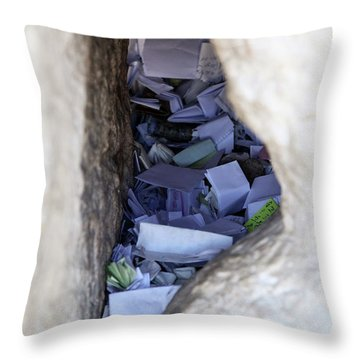 Notes In The Wailing Wall  Throw Pillow by Yoel Koskas