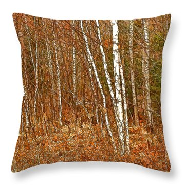 Nothing But Birches Throw Pillow by Susan Crossman Buscho