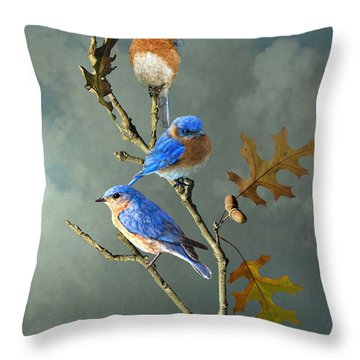 Nothing But Bluebirds Throw Pillow