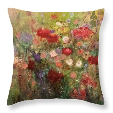 Throw Pillow featuring the painting Nothing But Flowers by Frances Marino