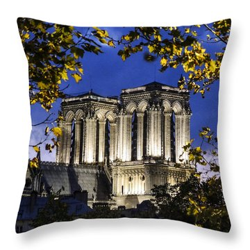 Notre Dame At Night Paris Throw Pillow