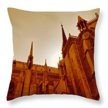 Notre Dame At Sunset Throw Pillow