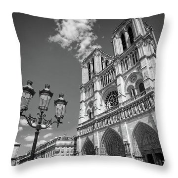 Notre Dame Black And White Throw Pillow