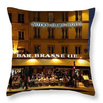 Throw Pillow featuring the photograph Notre Dame Cafe by Andrew Fare