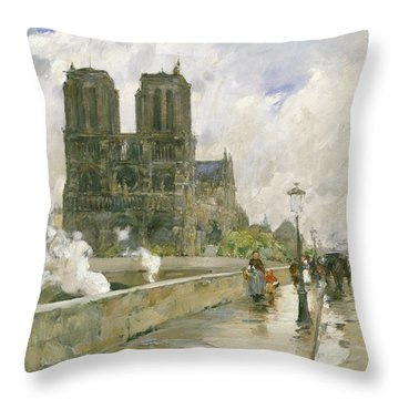 Notre Dame Cathedral - Paris Throw Pillow by Childe Hassam