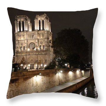 Notre Dame Cathedral From Petit Pont Throw Pillow