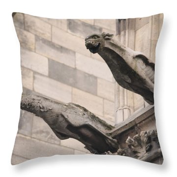 Notre Dame Cathedral Gargoyles Throw Pillow