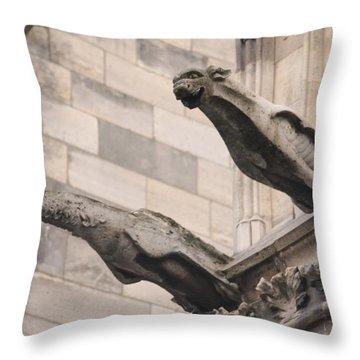 Notre Dame Cathedral Gargoyles Throw Pillow