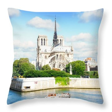 Notre Dame Cathedral, Paris France Throw Pillow